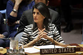 United States Ambassador to the United Nations Nikki Haley attends a meeting of the Security Council on the threats posed by international terrorism at U.N. headquarters, Feb. 7, 2017.
