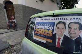 An election banner that reads 'Pastor Silas Malafaia votes, councilman Alexandre Isquierdo, 25025, we are one' is pictured in Rio de Janeiro, Brazil, Sept. 29, 2016.