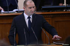 Bulgaria's President-elect Rumen Radev is sworn in during a ceremony at the parliament in Sofia, Bulgaria, Jan. 19, 2017.