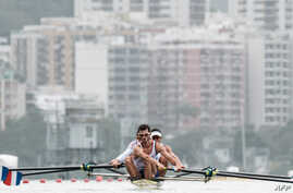 Rowers of France train before Rio 2016 Olympic games at Lagoa Stadium venue in Rio de Janeiro, Brazil, on July 29, 2016