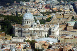 FILE - An aerial view of the Vatican with St. Peter's Basilica is seen in this undated photo.