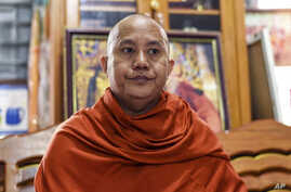 FILE - Wirathu, a high-profile leader of the Myanmar Buddhist organization known as Ma Ba Tha, is interviewed at his monastery in Mandalay, Myanmar, Nov. 12, 2016.