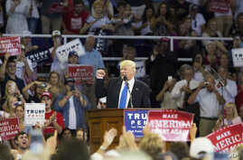 Republican presidential candidate Donald Trump speaks during a campaign rally at High Point University, in High Point, North Carolina, Sept. 20, 2016.