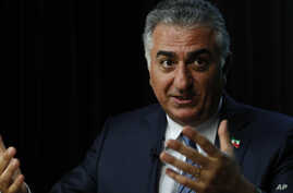 Iran's long-exiled Crown Prince Reza Pahlavi speaks during an interview at the Associated Press bureau in Washington, April 6, 2017.