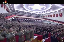 In this image made from video from North Korean broadcaster KRT, delegates applaud during the congress in Pyongyang, North Korea, May 6, 2016.