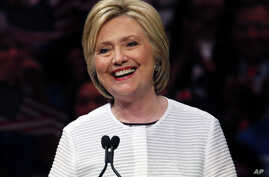Democratic presidential candidate Hillary Clinton speaks in New York after clinching her party's nomination, June 7, 2016,