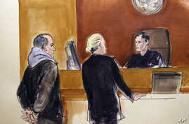 In this courtroom drawing, Elvis Redzepagic, left, appears during his arraignment on charges that he attempted to provide material support to a foreign terrorist organization.