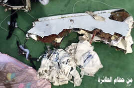 Part of the wreckage from EgyptAir flight 804. Photo was posted Saturday, May 21, 2016, on the official Facebook page of the Egyptian Armed Forces spokesman.