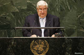 Syria's foreign minister, Walid al-Moualem, addresses the 69th United Nations General Assembly at U.N. headquarters in New York Sept. 29, 2014.