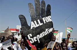 Pro-separation activists rallying outside Juba airport in southern Sudan where Sudanese President Omar al-Bashir arrives, 04 Jan 2011