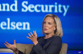 Secretary of Homeland Security Kirstjen Nielsen speaks to George Washington University's Center for Cyber and Homeland Security, in Washington, Wednesday, Sept. 5, 2018. Nielsen lays out her vision for the sprawling department, as midterm elections l