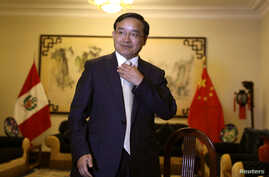 Jia Guide, China's ambassador to Peru, speaks during an interview with Reuters at the Chinese embassy in Lima, Peru, Apr. 11, 2018.
