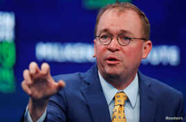 Mick Mulvaney, Assistant to the President and Acting Chief of Staff, The White House, speaks during the Milken Institute's 22nd annual Global Conference in Beverly Hills, California, U.S., April 30, 2019.  REUTERS/Mike Blake - RC1A249BA860