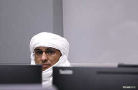 Malian Islamist militant Al Hassan Ag Abdoul Aziz Ag Mohamed Ag Mahmoud sits in the courtroom of the International Criminal Court during his trial at the Hague, the Netherlands, July 8, 2019.