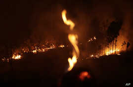 A fire burns in highway margins in the city of Porto Velho, Rondonia state, part of Brazil's Amazon, Sunday, Aug. 25, 2019.