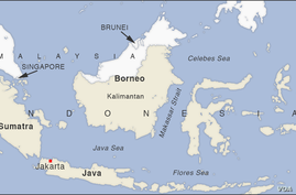 Map of Kalimantan, Borneo, Indonesia