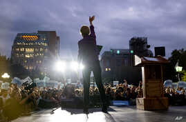 FILE - Democratic U.S. presidential candidate Sen. Elizabeth Warren takes the stage before addressing supporters at a rally in New York City, Sept. 16, 2019.