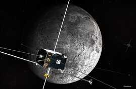 An artist's concept of the ARTEMIS spacecraft in orbit around the Moon. (NASA)