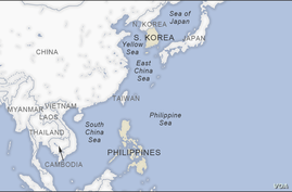 Map of South Korea and the Philippines