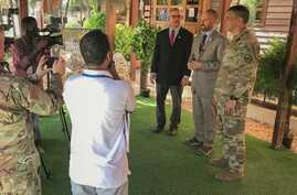 AFRICOM Commander Gen. Stephen Townsend, right, is seen with other officials during a joint media event in Mogadishu, Somalia, on a photo posted on Twitter by @USAfricaCommand, Nov. 5, 2019.
