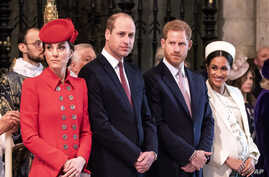 FILE - Prince William The Duke of Cambridge and Catherine The Duchess of Cambridge, Prince Harry The Duke of Sussex and Meghan The Duchess of Sussex attend the Commonwealth Day Service at Westminster Abbey.