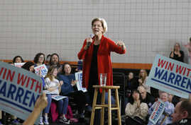 Democratic presidential candidate Senator Elizabeth Warren speaks during a town hall meeting in Davenport, Iowa, Jan. 26, 2020.