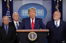 President Donald Trump speaks about the coronavirus in the press briefing room at the White House, Feb. 29, 2020.