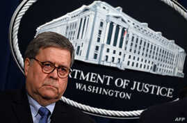 FILE -- U.S. Attorney General William Barr at the Department of Justice in Washington, D.C., Jan. 13, 2020.