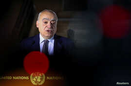 U.N. Envoy for Libya Ghassan Salame holds a news briefing ahead of U.N.-brokered military talks in Geneva, Switzerland, Feb. 4, 2020.