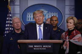 President Donald Trump speaks during a briefing about the coronavirus in the James Brady Press Briefing Room of the White House, March 15, 2020, in Washington.