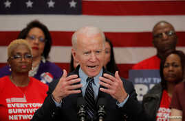 Democratic U.S. presidential candidate and former Vice President Joe Biden speaks during a campaign stop on gun violence in…