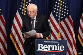 Democratic presidential candidate Bernie Sanders walks away from the podium after speaking to reporters in Burlington, Vermont, March 11, 2020.