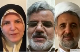 Iranian lawmakers, from left, Masoumeh Aghapour Alishahi, Mahmoud Sadeghi and Mojtaba Zolnour posted social media videos of themselves saying they have the coronavirus.