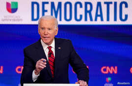 Democratic U.S. presidential candidate and former Vice President Joe Biden speaks during the 11th Democratic candidates debate…