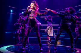 """This image released by Boneau/Bryan Brown shows Samantha Pauly during a performance of """"Six."""""""
