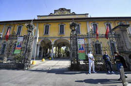 A view of the Pio Albergo Trivulzio nursing home in Milan, Italy, Tuesday, April 7, 2020. Italy's health ministry has sent inspectors to the country's biggest nursing home where 70 elderly people reportedly died in March alone.
