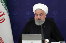 Iranian President Hassan Rouhani speaks during a meeting in Tehran, as the spread of coronavirus disease (COVID-19) continues, April 5, 2020. (Official Presidential website)