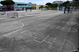 A photograph taken on May 5, 2020 shows an hopscotch in the courtyard of the Louis Pasteur elementary school closed due to the…