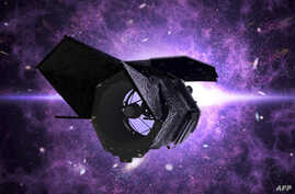 This NASA illustration released on May 20, 2020 shows NASA's Wide Field Infrared Survey Telescope (WFIRST, now named the Nancy…