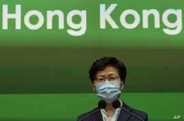 Hong Kong Chief Executive Carrie Lam listens to reporters questions during a press conference held in Hong Kong, Tuesday, May 5…