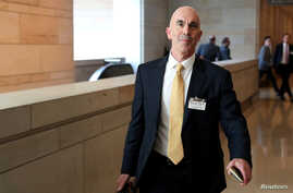 FILE -  U.S. State Department Inspector General Steve Linick departs after briefing House and Senate Intelligence committees at the U.S. Capitol in Washington, Oct. 2, 2019.