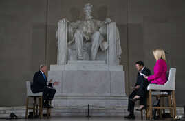 President Donald Trump speaks during a Fox News virtual town hall from the Lincoln Memorial, May 3, 2020, in Washington.