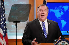 U.S. Secretary of State Mike Pompeo speaks about the coronavirus disease (COVID-19) during a media briefing at the State Department in Washington, May 6, 2020.