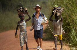 **FILE** In this June 30, 2005 file photo, children living in a cocoa producing village walk back from the fields carrying wood…