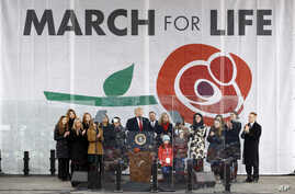 """President Donald Trump speaks at the """"March for Life"""" rally, Friday, Jan. 24, 2020, on the National Mall in Washington. (AP…"""