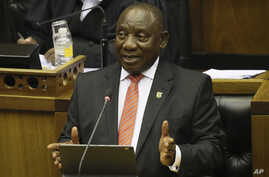 South African President Cyril Ramaphosa delivers his State of the Nation Address in Cape Town, Feb. 13, 2020.