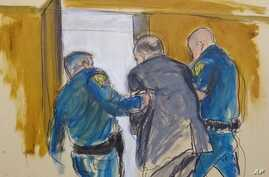 In this courtroom sketch, Harvey Weinstein, center, is led out of Manhattan Supreme Court by court officers after a jury…