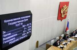 Russian lawmakers vote on a third reading of constitutional amendments at the State Duma, the Lower House of the Russian…