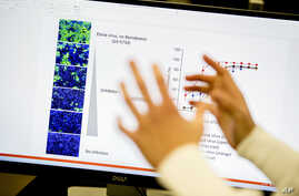 Data about the Ebola virus is displayed at a lab that will be used to test for treatments against the coronavirus at U.S. Army…