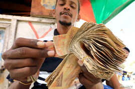 A dealer counts bundles of Somali shilling, the Somalian currency, at an open air currency exchange bureau within the…